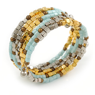 Multistrand Glass, Acrylic Bead Coiled Flex Bracelet (Silver, Light Blue, Gold, Bronze) - Adjustable