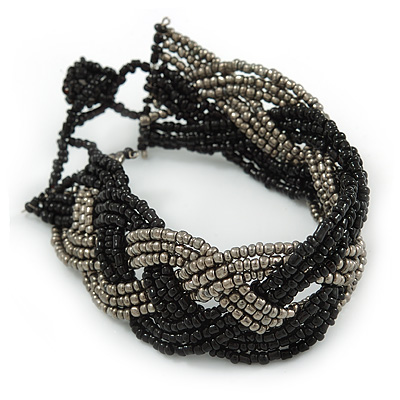 Black/ Grey Glass Bead Plaited Bracelet - 18cm L