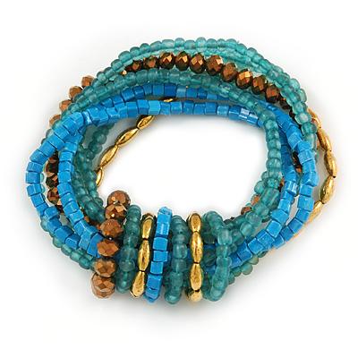 Multistrand Blue/ Teal/ Bronze Glass, Gold Acrylic Bead Flex Bracelet - 18cm Long