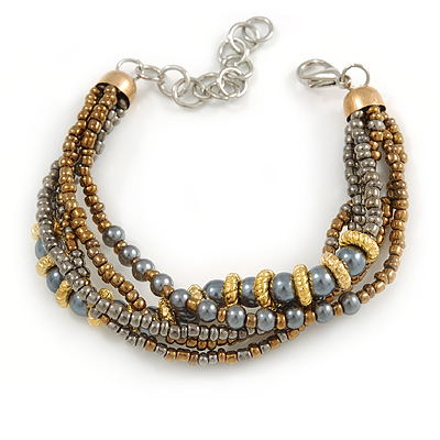 Bronze/ Grey/ Taupe Glass Bead with Gold Metal Rings Multistrand Bracelet - Small - 16cm L/ 5cm Ext