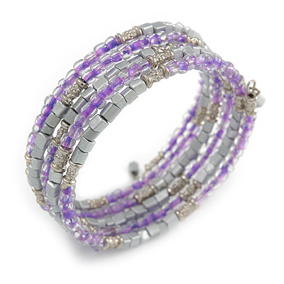 Multistrand Glass, Acrylic Bead Coiled Flex Bracelet (Silver, Lavender) - Adjustable