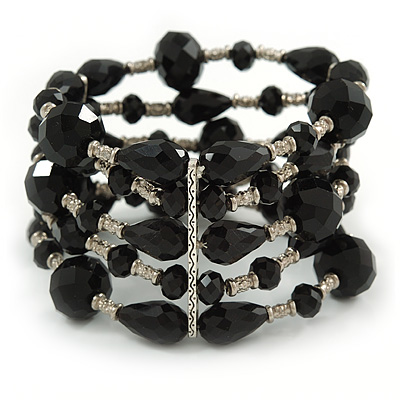 Statement Wide Black Glass Bead Multistrand Flex Bracelet - 20cm (Adjustable) Large - main view