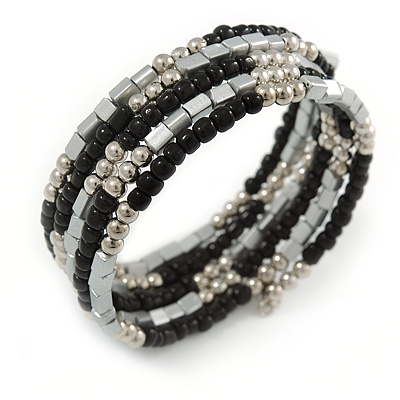 Multistrand Glass, Acrylic Bead Coiled Flex Bracelet (Silver, Black) - Adjustable