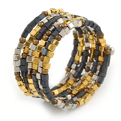 Multistrand Glass, Acrylic Bead Coiled Flex Bracelet (Silver, Charcoal Grey, Gold, Bronze) - Adjustable - main view