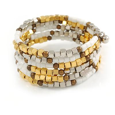 Multistrand Glass, Acrylic Bead Coiled Flex Bracelet (Silver, White, Gold, Bronze) - Adjustable