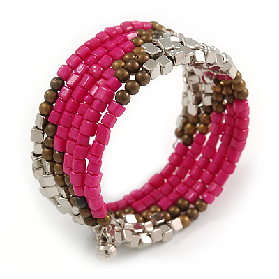 Multistrand Glass, Acrylic Bead Coiled Flex Bracelet (Silver, Deep Pink, Bronze) - Adjustable