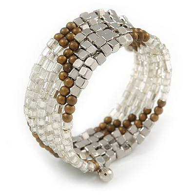 Multistrand Glass, Acrylic Bead Coiled Flex Bracelet (Silver, Transparent, Bronze) - Adjustable - main view