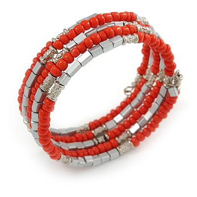Carrot Red Glass and Silver Tone Acrylic Bead Flex Coiled Bracelet - Adjustable