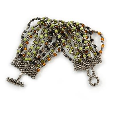 Handmade Multistrand Glass Bead Bracelet with Loop and Bar Closure (Grey, Black, Green, Brown) - 17cm L