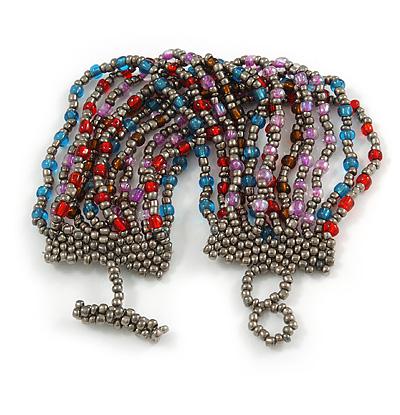 Handmade Multistrand Multicoloured Glass Bead Bracelet with Loop and Bar Closure - 17cm L