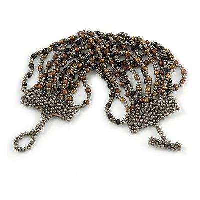 Handmade Multistrand Glass Bead Bracelet with Loop and Bar Closure (Grey, Black, Bronze) - 17cm L