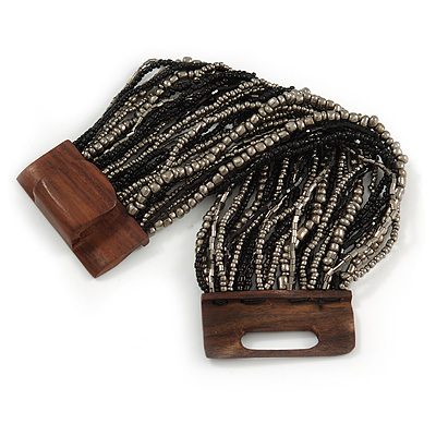 Black/ Grey Glass Bead Multistrand Flex Bracelet With Wooden Closure - 19cm L - main view