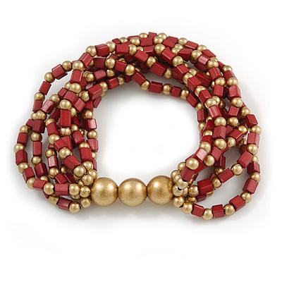 Garnet Red/ Gold Acrylic Bead Multistrand Flex Bracelet - 16cm L (Small)