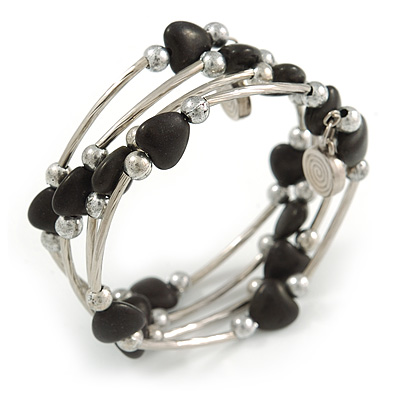 Multistrand Black Acrylic Heart Bead Coiled Flex Bracelet In Silver Tone - Adjustable