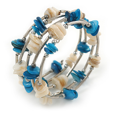 Blue/ Natural Shell Nugget Multistrand Coiled Flex Bracelet in Silver Tone - Adjustable