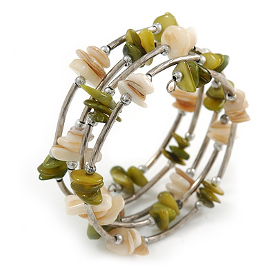 Olive Green/ Natural Shell Nugget Multistrand Coiled Flex Bracelet in Silver Tone - Adjustable - main view