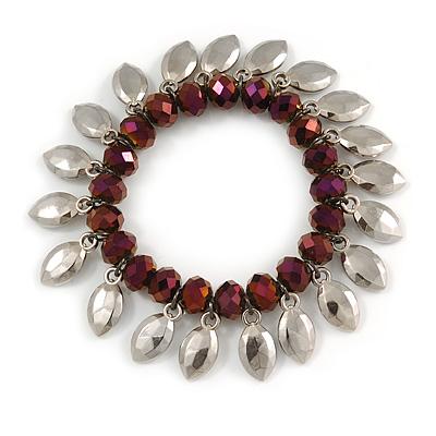 Purple Glass Bead Silver Tone Charm Flex Bracelet - 17cm L