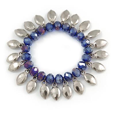 Blue Glass Bead Silver Tone Charm Flex Bracelet - 17cm L