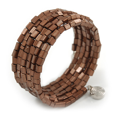 Bronze Brown Acrylic Bead Multistrand Coiled Flex Bracelet - Adjustable