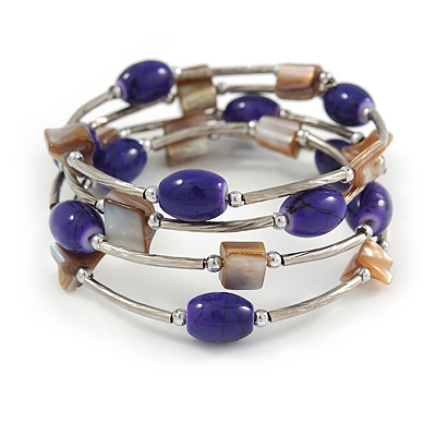 Purple Ceramic Bead with Natural Sea Shell Coiled Flex Bracelet In Silver Tone - Adjustable