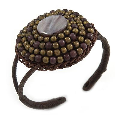 Black/ Bronze Shell Bead, Dome Shape Woven Flex Cuff Bracelet - Adjustable