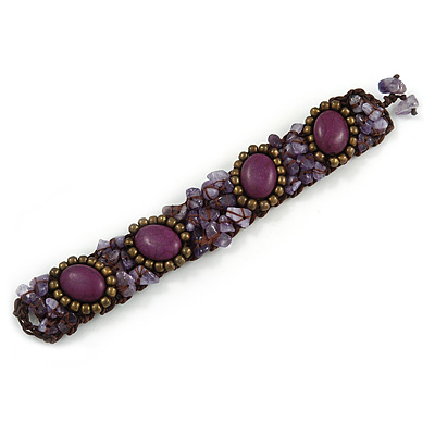 Small Handmade Semiprecious Stone, Ceramic Stone Woven Bracelet - 15cm Long (Brown, Bronze, Purple, Amethyst) - main view
