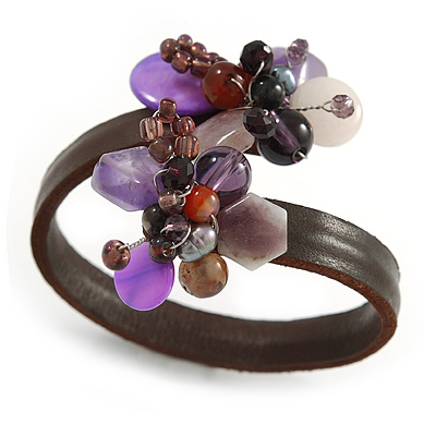 Semiprecious Stone Floral Silver Tone Wire Brown Leather Flex Bracelet (Purple) - Adjustable