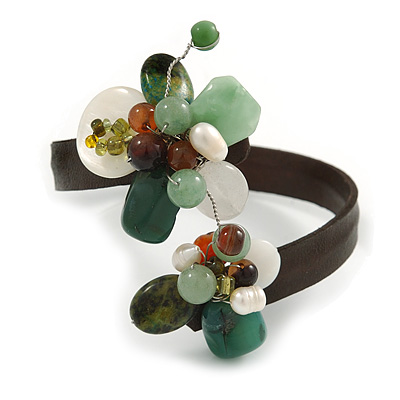 Semiprecious Stone Floral Silver Tone Wire Brown Leather Flex Bracelet (Green, White) - Adjustable