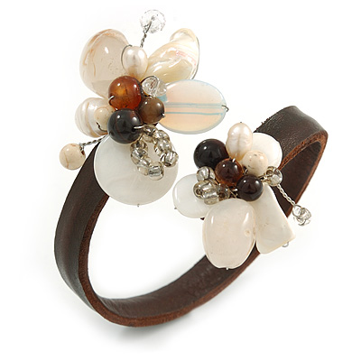 Semiprecious Stone Floral Silver Tone Wire Brown Leather Flex Bracelet (Brown, White) - Adjustable