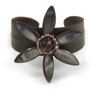Stunning Grey Shell Flower Brown Leather Flex Cuff Bracelet - Adjustable