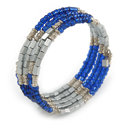 Electric Blue Glass Silver Acrylic Bead Multistrand Coiled Flex Bracelet Bangle - Adjustable