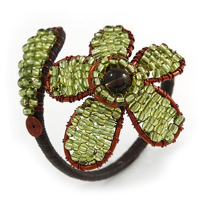 Light Green Glass Bead Flower Copper Wire Flex Cuff Bracelet - Adjustable