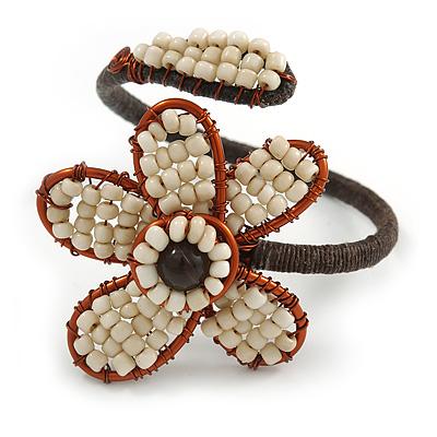 Off White Glass Bead Flower Copper Wire Flex Cuff Bracelet - Adjustable - main view