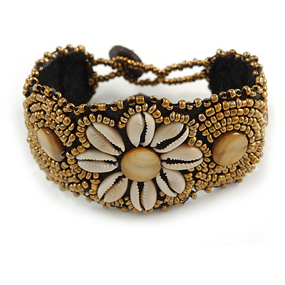 Handmade Boho Style Beaded, Shell Wristband Bracelet (Bronze, Cream) - 15cm L/ 2cm Ext - Small