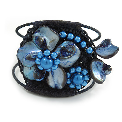 Dark Blue Shell Bead Flower Wired Flex Bracelet - Adjustable