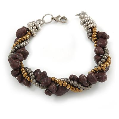 Grey/ Bronze/ Purple Glass Bead and Semiprecious Stone Twisted Strand Bracelet - 19cm L