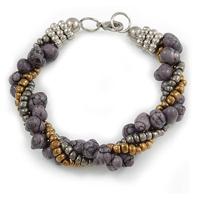 Grey/ Bronze Glass Bead and Semiprecious Stone Twisted Strand Bracelet - 19cm L
