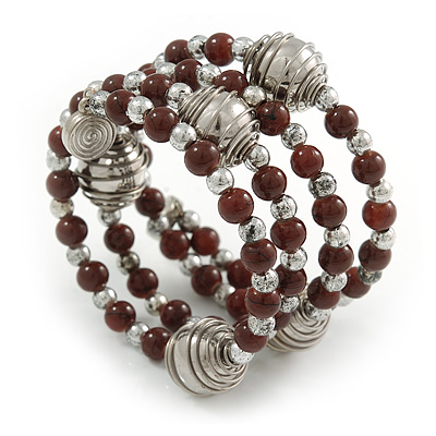 Brown Ceramic Bead with Silver Tone Wire Metal Ball Coiled Flex Bracelet - Adjustable