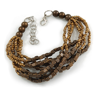 Bronze/ Brown Glass Bead Multistrand Bracelet - 18cm L/ 4cm Ext