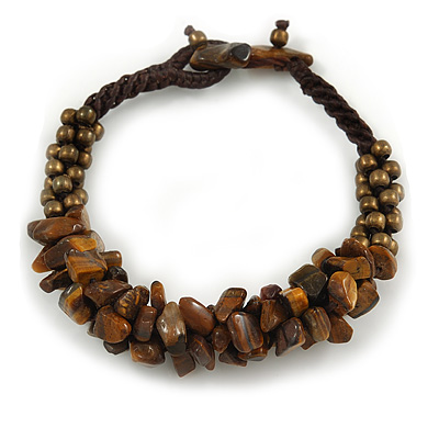 Handmade Semiprecious Stone Bronze Acrylic Bead Brown Cord Bracelet - 16cm L - Small