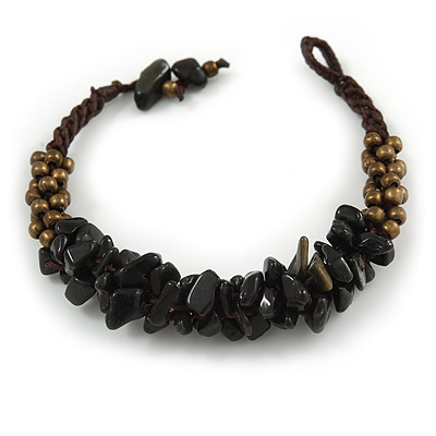 Handmade Semiprecious Stone Bronze Acrylic Bead Brown Cord Bracelet - 16cm L - Small - main view