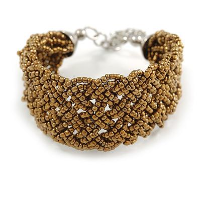 Fancy Bronze Glass Plaited Bracelet in Silver Tone - 17cm L/ 5cm Ext