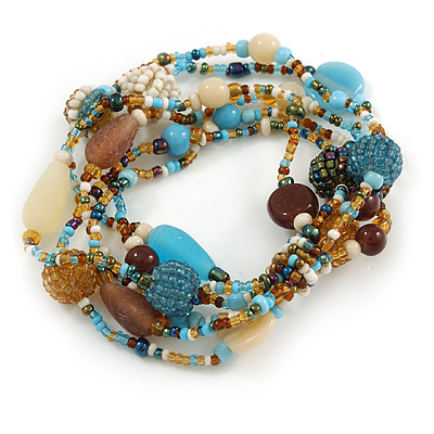 Multistrand Glass, Ceramic and Resin Beads Flex Bracelet (Light Blue, Brown, Beige) - 17cm L
