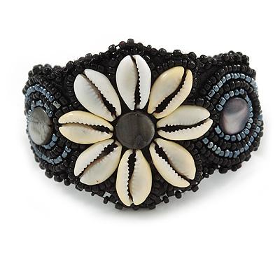 Handmade Boho Style Beaded, Shell Wristband Bracelet (Black, Grey, White) - 16cm L/ 2cm Ext - main view