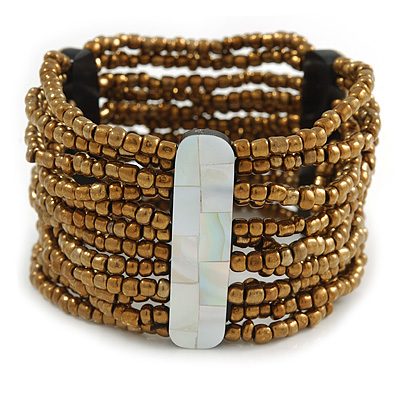 Wide Multistrand Gold Bronze Glass Beaded Flex Bracelet With Mother Of Pearl Bars - 22cm L (Large)