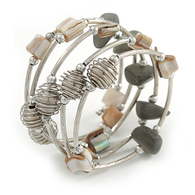 Stylish Natural Shell, Grey Semiprecious Stone, Metal Bead Multistrand Flex Bracelet - Adjustable - main view