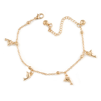 Ankle Chain/ Anklet/ Beach Anklet Foot Jewellery with Dolphin Charms for Women Girl In Gold Tone Metal - 19cm L/ 6cm Ext