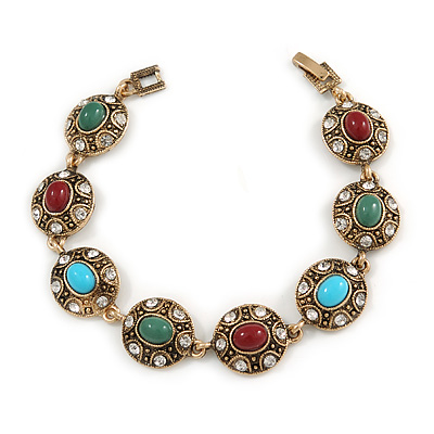 Vintage Inspired Turkish Style Oval Station Bracelet In Aged Gold Tone (Green/ Ox Blood/ Blue) - 18cm L