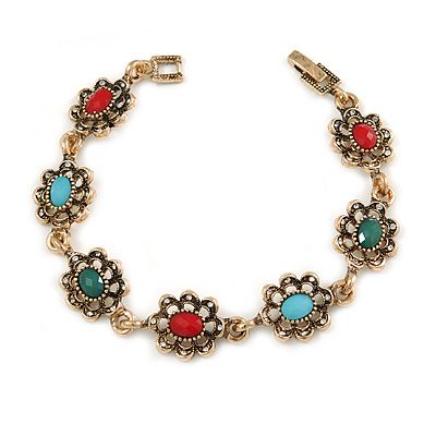 Vintage Inspired Turkish Style Crystal, Acrylic Bracelet In Aged Gold Tone (Green, Light Blue, Red) - 17cm L