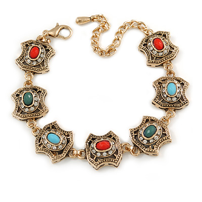 Vintage Inspired Turkish Style Square Station Bracelet In Aged Gold Tone (Green/ Red/ Blue) - 16cm L/ 6cm Ext